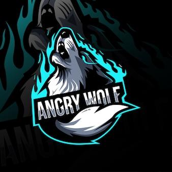 Diseño de esport de logotipo de mascota de lobo enojado