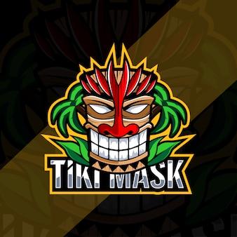 Diseño de esport de logotipo de mascota de máscara tiki