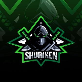 Diseño de esport de logotipo de mascota shuriken