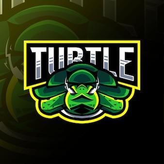 Diseño de esport de logotipo de mascota de tortuga