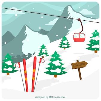 Diseño de estación de esquí con signo