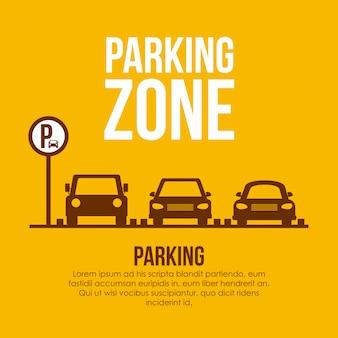 Diseño de estacionamiento sobre ilustración amarilla