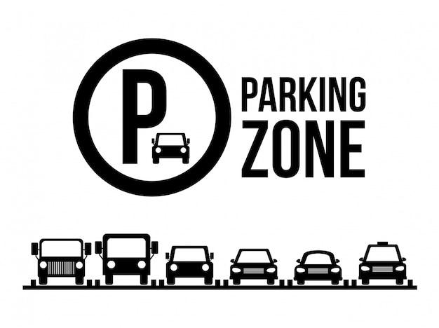 Diseño de estacionamiento sobre ilustración blanca