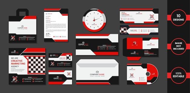 Diseño estacionario con formas simples de color rojo y negro.