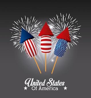 Diseño de estados unidos de américa con fuegos artificiales
