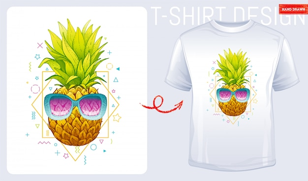 Diseño estampado de camiseta de piña con gafas de sol. ilustración de moda de mujer en el estilo de dibujo boceto.