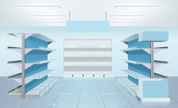 Diseño de estantes de supermercado vacío