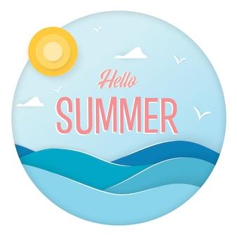 Diseño de estilo de arte de papel con frase dibujada a mano hola verano y elementos de recreación de verano. ilustración.
