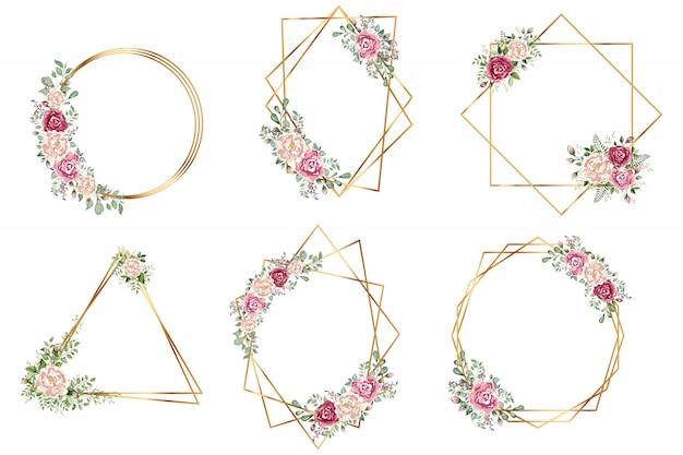 Diseño de estilo deco de invitación de boda de poliedro geométrico de oro botánico