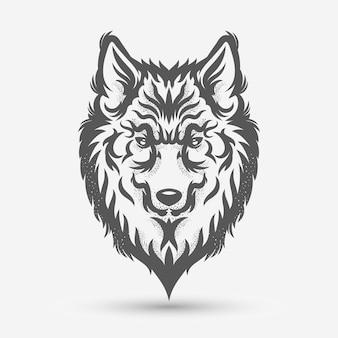 Diseño de estilo de pincel de arte de cabeza de lobo