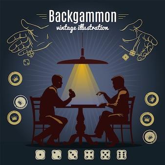 Diseño de estilo vintage de backgammon