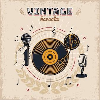Diseño de estilo vintage de karaoke