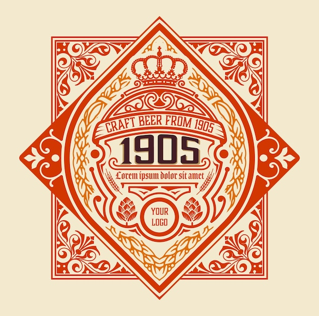 Diseño de etiqueta adornado antiguo para cerveza.