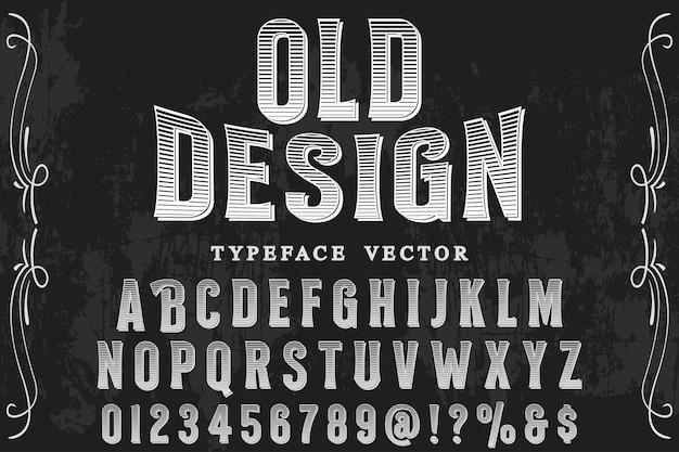 Diseño de etiqueta de alfabeto de estilo antiguo
