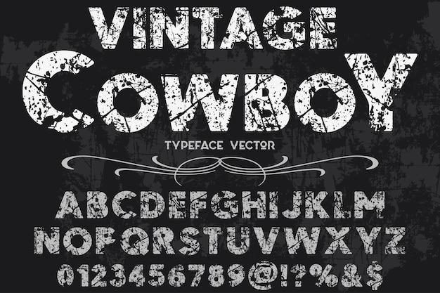Diseño de la etiqueta del alfabeto vaquero vintage
