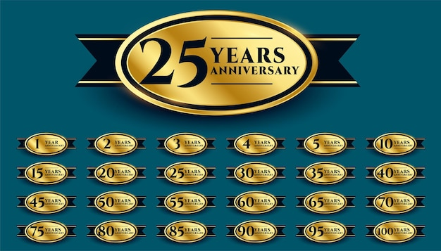 Diseño de etiqueta de aniversario de oro styligh