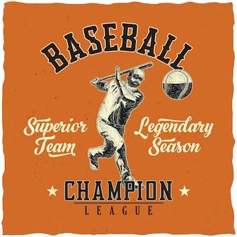 Diseño de etiqueta de béisbol con ilustración de jugador de béisbol