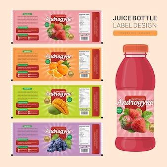 Diseño de la etiqueta de la botella de jugo