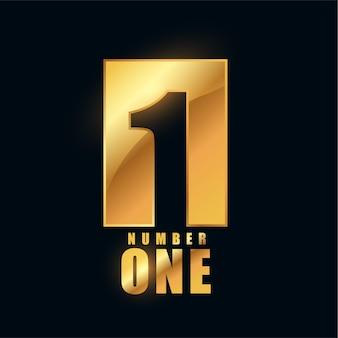 Diseño de etiqueta brillante dorado número uno