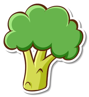 Diseño de etiqueta con un brócoli aislado.