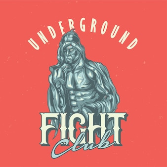 Diseño de etiqueta de camiseta con box fighter.