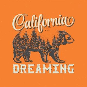 Diseño de etiqueta de camiseta de ensueño de california con ilustración de silueta de oso.