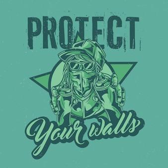 Diseño de etiqueta de camiseta con ilustración de artista callejero.