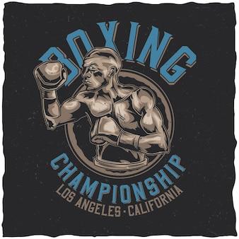 Diseño de etiqueta de camiseta con ilustración de box fighter.