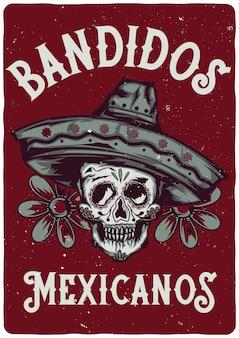 Diseño de etiqueta de camiseta con ilustración de calavera mexicana en sombrero