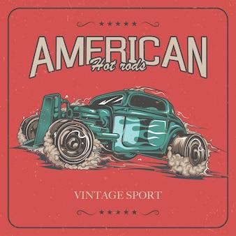 Diseño de etiqueta de camiseta con ilustración de coche hotrod.