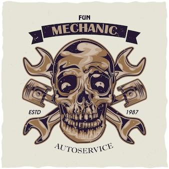 Diseño de etiqueta de camiseta con ilustración de cráneo mecánico.