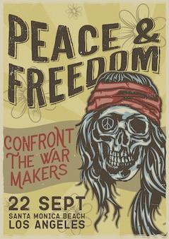 Diseño de etiqueta de camiseta con ilustración de hippie muerto