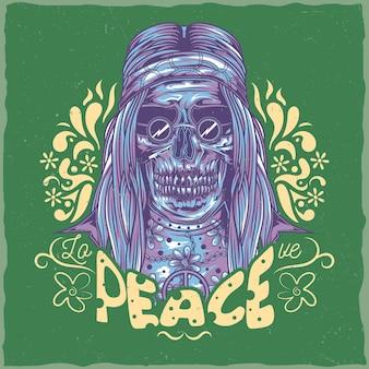 Diseño de etiqueta de camiseta con ilustración de hippie muerto.
