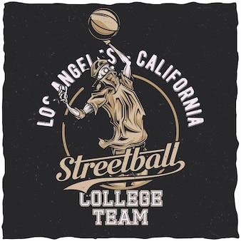 Diseño de etiqueta de camiseta con ilustración de jugador de streetball.
