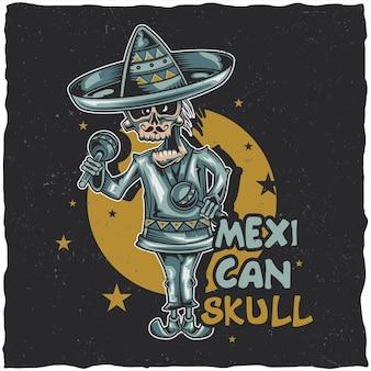 Diseño de etiqueta de camiseta con ilustración de músico mexicano.