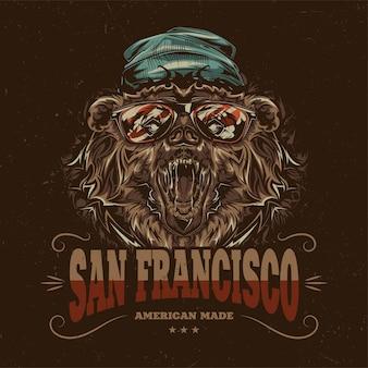 Diseño de etiqueta de camiseta con ilustración de oso estilo hipster con sombrero y gafas