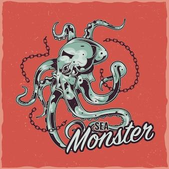 Diseño de etiqueta de camiseta con ilustración de pulpo.