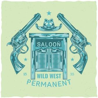 Diseño de etiqueta de camiseta con ilustración de salón, sombrero y pistolas.