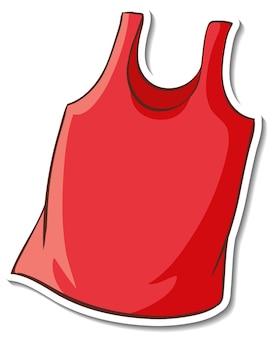 Diseño de etiqueta con camiseta sin mangas roja aislada