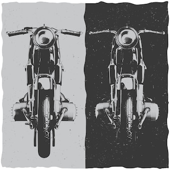 Diseño de etiqueta de camiseta de motocicleta con ilustración de motocicleta clásica.