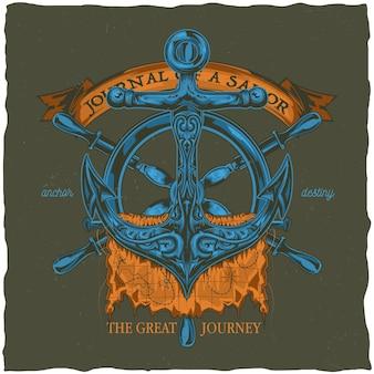 Diseño de etiqueta de camiseta náutica con ilustración de ancla. v
