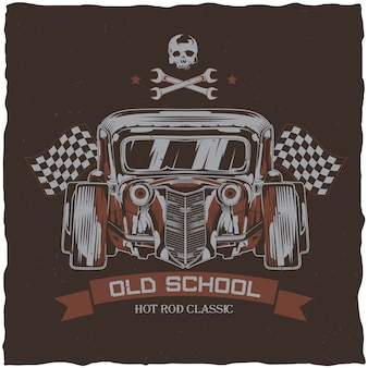 Diseño de etiqueta de camiseta vintage hot rod con ilustración de coche de velocidad personalizado. dibujado a mano ilustración.