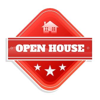 Diseño de etiqueta de casa abierta