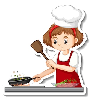 Diseño de etiqueta con chica chef cocinando personaje de dibujos animados de comida