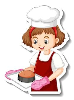 Diseño de etiqueta con chica panadera sosteniendo bandeja horneada.