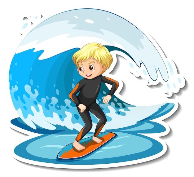 Diseño de etiqueta con una chica en tabla de surf aislada.