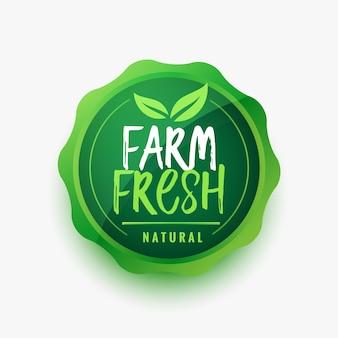 Diseño de etiqueta de comida de hoja verde fresca de granja