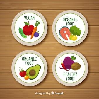 Diseño de etiqueta para comida orgánica, vegetal, ecológica, natural