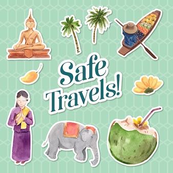 Diseño de etiqueta con el concepto de viaje de asia para la ilustración de vector de acuarela aislado de dibujos animados de personaje