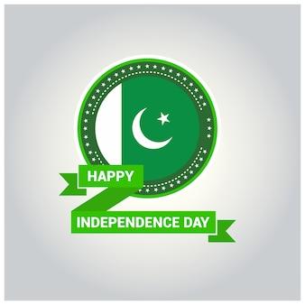 Diseño de etiqueta para el día de la independencia de pakistán